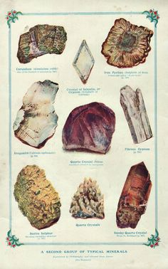 Geology Print 1899 TYPICAL MINERALS rocks by VintageInclination, $21.50