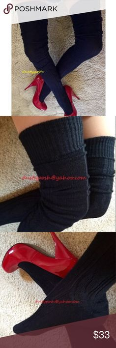 b6bee122df Thigh High Cable Knit Socks Over The Knee Black Long soft luxurious  Cableknit over the knee socks. This listing is for one pair black or red.
