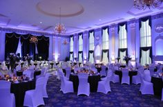 White uplighting with black and white wedding. DIY and get the look for your event at http://RentUplights.com