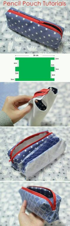 How to make zippered pencil case ~ How to sew free tutorial for beginners. Ideas for sewing projects. Step by step illustration. , DIY Pencil Pouch Tutorials with Pattern. Pencil Bags, Pencil Pouch, Sewing Patterns Free, Sewing Tutorials, Sewing Projects, Sewing Tips, Sewing Ideas, Tutorial Sewing, Bag Patterns