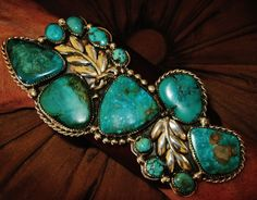 """NATIVE AMERICAN TURQUOISE LEATHER BRACELET,133g Sterling Silver CHAVEZ,5.5"""" wide #CHAVEZNAVAJO"""