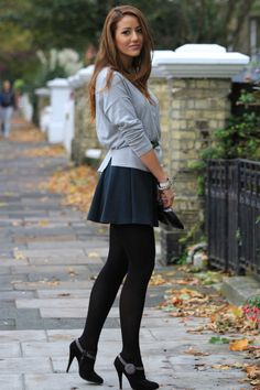 I love short skirts with leggings, little heeled boots, and loose tops. Me <3