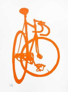 Arte bicicleta - naranja Frejus pista bicicleta impresión - arte de pared de arte Print-moto bicicleta - bicicleta pintura - Ciclismo - bicicleta pared decoración bici de la plantilla