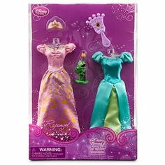 Disney Princess Exclusive Wardrobe and Friends Set - 5 Pcs - Rapunzel by Disney. $11.87. Disney Store Exclusive Wardrobe and Friends - Rapunzel. Costumes: 7 1/2'' H. Collect with Tangled Classic Rapunzel Doll and Tangled Classic Flynn Rider Doll, each sold separately. Set includes 2 dresses, 1 crown, 1 hairbrush and Pascal the chameleon. Ages 3+. Product Features Disney Store Exclusive Wardrobe and Friends - Rapunzel Set includes 2 dresses, 1 crown, 1 hairbrush and Pascal ...