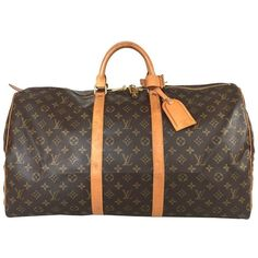 """Pre-owned """"""""Keepall 55 Monogram Canvas"""""""" (18,115 MXN) ❤ liked on Polyvore featuring bags, brown, louis vuitton bags, monogram canvas bag, zippered travel bags, canvas travel bag and travel bag"""