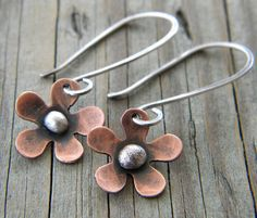 Copper Flower Sterling Silver Earrings Artisan by dreambelledesign, $32.00