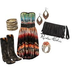 """New Mexico State Fair"" by rodeo-chic on Polyvore, Old Gringo cowboy boots @oldgringoboots; southwestern strapless dress, fringe bag, western, country"