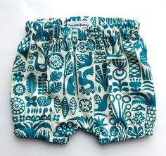Organic Bubble Bloomers   Lightweight organic cotton, cream with teal objects, birds, palm trees, bus, pineapple and more.  These easy to wear