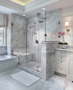 Enchanting luxurious master bathroom home decorating tips for baths and small bathroom. Mansion master bathroom to inspire your dream cutting-edge, romantic, and elegant decor for the dream spa luxury bathroom. Zen master bathroom with a jacuzzi and steam Bathroom Remodel Shower, Bathroom Interior Design, Bathroom Makeover, Bathroom Remodel Designs, Modern Bathroom, Bathroom Renovations, Remodel Bedroom, Luxury Bathroom, Bathroom Renovation