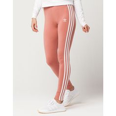 Adidas 3 Stripes Womens Leggings (645 MXN) ❤ liked on Polyvore featuring pants, leggings, adidas, legging pants, striped trousers, adidas trefoil leggings and stripe leggings