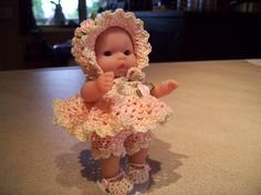 "Berenguer 5"" Baby Dolls - Just finished this little old fashioned baby doll. #5 More can be seen on Pinterest under Jana Langley Berenguer 5"" Dolls with crocheted outfits"
