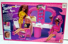 "RARE 1993 BARBIE ""GLITTER HAIR BARBIE HAIR SALON"" NRFB PLAYSET"