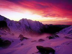 Sunset Over Franz Josef Glacier, New Zealand