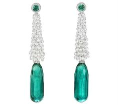 Chopard Earrings in 18k white gold set with briolette cut diamonds (29 carats) and 2 briolette cut emeralds (35 and 31 carats each)