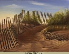 """Did you know that Nantucket might mean """"Faraway land or island""""? Let's start the day with a walk to the beaches of the tiny and faraway Nantucket Island. An isolated island off Cape Cod, Massachusetts but not far from the site of the Best of America Exhibit in Orleans, MA.  """"Nantucket Pathway"""" 18.5x23.5 is an oil painting by Norma Torti on view at the Addison Art Gallery for just 5 more days http://www.noaps.org/html/bestofamerica.html"""