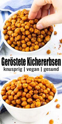 Geröstete Kichererbsen sind solch ein toller und gesunder Snack! Sie sind himmlisch würzig, ein wenig scharf und sehr einfach zuzubereiten. Sie sind perfekt als Party-Snack, fürs Snacken vorm Fernsehen und auch für unterwegs! Mehr vegane Rezepte findet ihr auf veganheaven.de! #vegan #gesund #vegetarisch