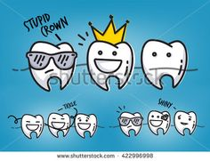 Set of small funny teeth characters scenes, drawing on light blue background.