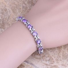 Purple Amethyst Topaz 925 Sterling Silver Overlay Link Chain Bracelet 7 inch For Women Free Shipping & Jewelry Bag S0266