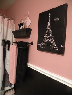 "Black and pink Paris bathroom. Shower curtain and accessories from Bed, Bath and Beyond: ""Dress to Thrill""."