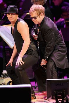 Channing Tatum, with Elton John, dipped into his pre-fame bag of tricks as part of 2012's Concert For The Rainforest Fund.