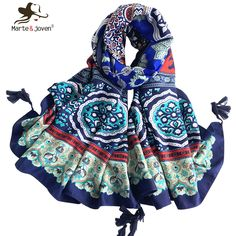 fbf2b05174f  Marte Joven  Spring Autumn Women Oversized Floral Print Outdoor Traveling  Oblong Blue and White Scarf and Shawl Ladies