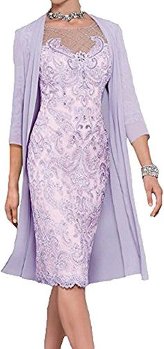WDH Dress Light Pink Mother of The Bride Dress with Jacket (14, Violet): Amazon.co.uk: Clothing