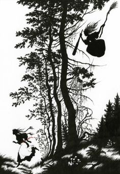 Illustration for Baba Yaga by Niroot Puttapipat, from Myths and Legends of Russia, collected by Aleksandr Afanas'ev and translated by Norbert Guterman; published by The Folio Society