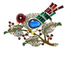 Sale --Rare Alfred PHILIPPE TRIFARI BIRD On A Branch Figural Rhinestone Brooch Pin. $850.00, via Etsy.
