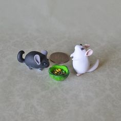 Collectible Polymer Clay Dime Chinchillas Set Of Two (Reserved for Miranda)