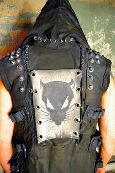 Scavanger Custom Post Apocalyptic Tactical Hooded Biker Vest Custom Logo Wasteland Fashion