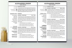 modern resume template instant download 1 2 pages cover letter