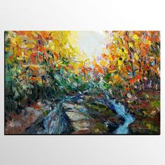 Abstract Painting, Forest River Painting, Landscape Painting, Canvas Art, Original Wall Art, Large Art, Oil Painting, Living Room Wall Art