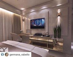#Repost @germana_rabello with @repostapp. ・・・ ✔️Entregue‼️ Painel ALMOFADADO! Com uma penteadeira só para ela.Amoooo. Suíte para um casal muito especial que me encontrou no Instagram e confiou no meu trabalho. Obrigada #design #tonsneutros #laca #espelhobronze #iluminação #white #decor #decoração #arquitetura #interiores