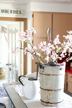 Ice cream churn...spring blossoms