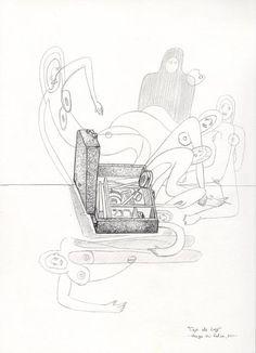 """""""Caja de Luz (el estuche del artista)""""  Grafito sobre papel.  México 2011, septiembre. Herza Du Valca."""