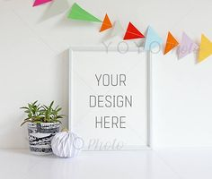・・・INSTANT DOWNLOAD・・・  A white 8x10 frame styled against a white wall with plant and paper decoration. The wall is adorned with hand made paper bunting.  A perfect mock up for displaying your nursery, wedding or anniversary artworks. The landscape version can be found here: https://www.etsy.com/uk/listing/524625887/frame-mock-up-8x10-landscape-simple?ref=listing-shop-header-0 Other frames can be found here: https://www.etsy.com/uk/shop/YOYOPhoto?ref=hdr_shop_menu&section_id=21112784…