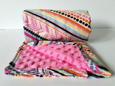 Tribal Baby Blanket Pink Aqua Purple Minky by GoBeWonderful