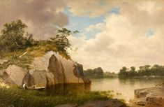 David Johnson - Catnip Island near Greenwich, Connecticut, 1878 offered by Godel & Co Fine Art Inc. on InCollect Ringworm In Cats, Hudson River School Paintings, Greenwich Connecticut, Go Outdoors, Landscape Paintings, Oil On Canvas, David, Island, Fine Art