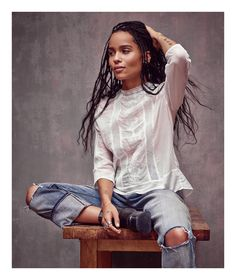 """""""My style is simpler and more sophisticated than it used to be."""" - Zoe Kravitz. She was photgraphed by Mark Seliger in 505C jean. As advertised in @voguemagazine."""