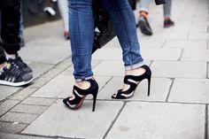 ❤ Alaïa Suede and PVC Sandals