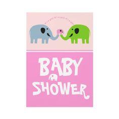 Cute #Elephant family Baby Shower #Invitation-Pink #babyshower