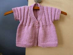 Hand knitted short sleeved cotton blend cardigan | hand knit baby girl clothes | pink baby sweater | 4 months