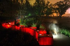 In Qinhuangdao, China, the Tanghe River Park features a  red steel bench that runs for half a kilometre through the park.