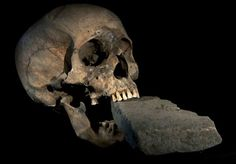 16th century plague victim who was suspected of being a vampire was buried with this stone in her mouth.  She is believed to be in her sixties and probably poor.