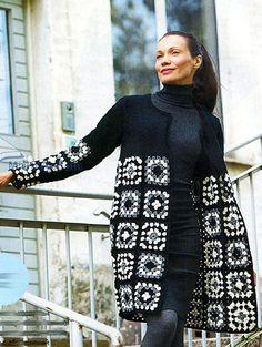 Crochet Cardigan Pattern, Crochet Jacket, Crochet Crafts, Crochet Yarn, Crochet Sunflower, Knitwear Fashion, Dress Sewing Patterns, Cool Sweaters, Crochet Granny