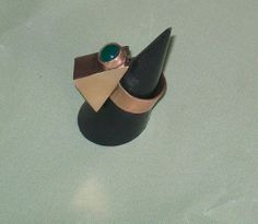 green onyx set bronze triangle ring by LunaLocoJewellery on Etsy, £35.00