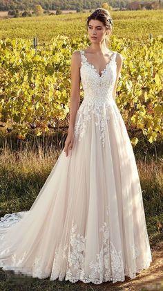 13c3c6a888 Gorgeous White Appliques Lace Wedding Dresses