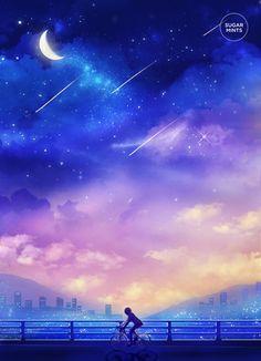 Fantasy Anime Art Postcard: In Search of by SugarmintsArtstore Main Manga, Galaxy Art, Anime Scenery, Fantasy World, Night Skies, Amazing Art, Awesome, Illustration, Cool Art