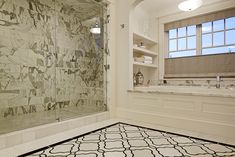 Beautiful House in Seattle - Master Bath; The floors are a custom mosaic