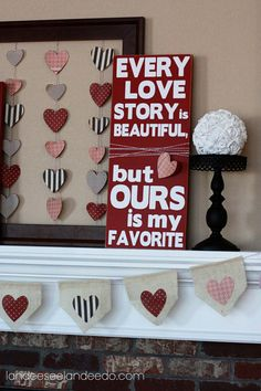 V-day, both framed hearts and wooden with wrapped string.